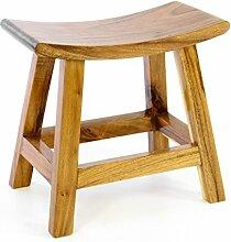 Divero Hocker Sitzhocker Holzhocker Badhocker Duschhocker Schemel – Suar Holz massiv behandelt reine Handarbeit - braun