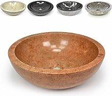DIVERO Naturstein Aufsatz-Waschbecken Florenz Handwaschbecken Waschschale Marmor Stein poliert rund rötlich terracotta