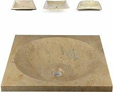 DIVERO Salerno Waschschale Aufsatz-Waschbecken Handwaschbecken Marmor Natur-Stein poliert creme sand eckig