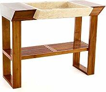 DIVERO Waschtisch-Garnitur Teakholz-Tisch viereckiges Marmorwaschbecken Naturstein-Waschbecken beige polier