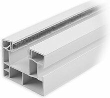 DIWARO Rolladen Führungsschiene aus Kunststoff weiss, für Maxi Rolladenprofile, mit beidseitiger Bürstendichtung in grau, Fixlänge 1900mm