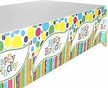 DIWULI, große Tischdecke Happy Birthday,