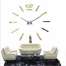 DIY 3D-DIY-Acryl Spiegel Groß Quarzuhr Wanduhren Wall Sticker Watch modernes Wohnzimmer Rundschreiben Home Decoration, gold