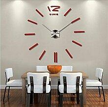 DIY 3D-DIY-Acryl Spiegel Groß Quarzuhr Wanduhren Wall Sticker Watch modernes Wohnzimmer Rundschreiben Home Decoration, ro
