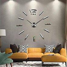 DIY 3D-DIY-Acryl Spiegel Groß Quarzuhr Wanduhren Wall Sticker Watch modernes Wohnzimmer Rundschreiben Home Dekoration, siliver
