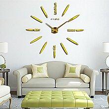 DIY 3D Große Wanduhr Modelle Dekoration Spiegel Aufkleber Wandsticker Große Uhr Geschenk Empfehlen (Gold)