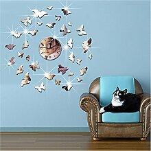 DIY 3D Wanduhr TRRE-Spiegel Brausen Schmetterling Gruppe von dreidimensionalen Uhr Quarzuhr