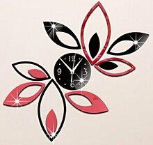 DIY Abnehmbarer Spiegel Wall Sticker Clock Wand Dekor Lotus Multi-Farbe Wand Aufkleber Wallpaper für TV-Wand Hintergrund, Rot und Schwarz