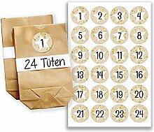 DIY Adventskalender Set - 24 braune Geschenktüten und 24 beige Zahlenaufkleber - zum selbermachen und befüllen - Mini Set 18 von Papierdrachen