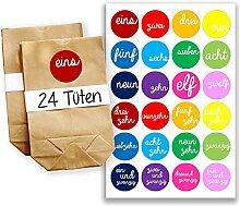 DIY Adventskalender Set - 24 braune Geschenktüten und 24 bunte Zahlenaufkleber - zum selbermachen und befüllen - Mini Set 6 von Papierdrachen
