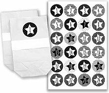 DIY Adventskalender Set - 24 weiße Geschenktüten und 24 schwarz-weiße Zahlenaufkleber - zum selber machen und befüllen