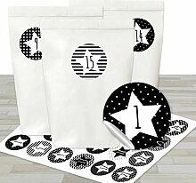 DIY Adventskalender Set - 24 weiße Geschenktüten