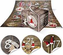 DIY Adventskalender Weihnachten Bastel-Set: 24