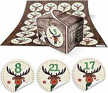 DIY Adventskalender Weihnachten Bastel-Set: 24