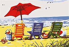 DIY Anstrich durch Zahlinstallationssatz-Strand-Stuhl Trio 16x20 Zoll Acrylmalerei einzigartiges Geschenk für Wohnkultur (kein Rahmen) Landschaf