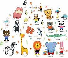 DIY Cartoon Tier Freunde Wandaufkleber für