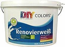DIY Colors Renovierweiß 12,5l (Größe wählbar) - trendige Innenfarbe, Dispersion, Dispersionsfarbe, weiß, Wandfarbe, geruchsarm, lösemittelfrei, Nassabrieb und Deckkraft Klasse 2 - Do It Yourself