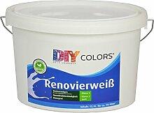 DIY Colors Renovierweiß 12,5l - trendige Innenfarbe, Dispersion, Dispersionsfarbe, weiß, Wandfarbe, geruchsarm, lösemittelfrei, Nassabrieb und Deckkraft Klasse 2 - Do It Yourself