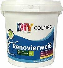 DIY Colors Renovierweiß 1l - trendige Innenfarbe, Dispersion, Dispersionsfarbe, weiß, Wandfarbe, geruchsarm, lösemittelfrei, Nassabrieb und Deckkraft Klasse 2 - Do It Yourself