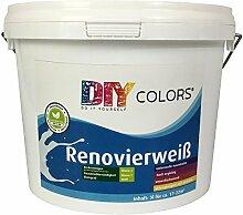 DIY Colors Renovierweiß 3l (Größe wählbar) - trendige Innenfarbe, Dispersion, Dispersionsfarbe, weiß, Wandfarbe, geruchsarm, lösemittelfrei, Nassabrieb und Deckkraft Klasse 2 - Do It Yourself