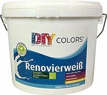 DIY Colors Renovierweiß 6l (Größe wählbar) - trendige Innenfarbe, Dispersion, Dispersionsfarbe, weiß, Wandfarbe, geruchsarm, lösemittelfrei, Nassabrieb und Deckkraft Klasse 2 - Do It Yourself