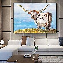 DIY Malen nach Zahlen Highland Kuh Tier Blumenbild