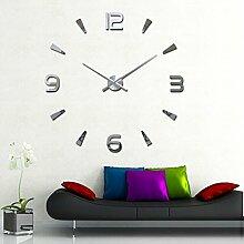 DIY Moderne Wanduhr Wandtattoo Dekoration Uhr für Zimmerdeko aus Acryl Silber