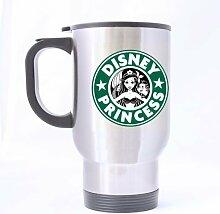 DIY personalisierte Travel Tasse easyolife- Disney Princess Funny Starbucks Tasse, lustige Tasse 14oz Kaffee Becher/Tee Tassen Cool Unique Geburtstag oder Weihnachten Geschenke für Mann und Frauen Funny Reise Kaffee Tasse