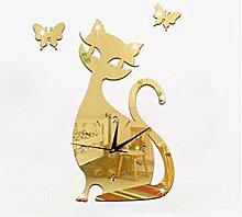 Diy Quarz Uhr Kreative Niedlichen Schwarzen Katze Schlafzimmer Wohnzimmer Wanduhr , Gold