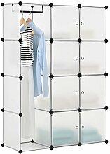DIY Regalsystem Garderobenschrank Kleiderschrank aus 12 variablen Boxen in weiss