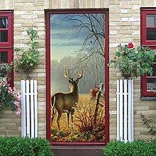 DIY Türaufkleber 88 x 200 cm Wald & Hirsch
