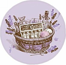 DIYthinker Blumen Pflanze Malerei Geschenk Lavendel Korb Anti-Rutsch Boden Pet Matte rund Badezimmer Wohnzimmer Küche Tür 60/50cm Geschenk, Gesponnenes Polyester, mehrfarbig, 60X60cm