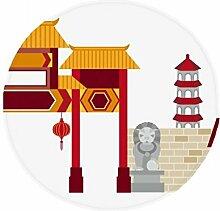 DIYthinker China Architektur Stein Löwe Muster Anti-Rutsch Boden Pet Matte rund Badezimmer Wohnzimmer Küche Tür 60/50cm Geschenk, Gesponnenes Polyester, mehrfarbig, 60X60cm