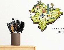 DIYthinker Taipei Travel Map China entfernbarer