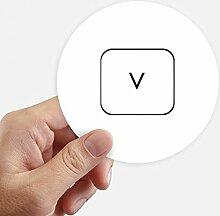 DIYthinker Tastatur Symbol V Runde Sticker 10Cm