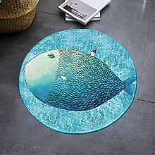 DIZI Blaues Mittelmeer Runden Teppich Stil