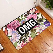 DIZI Bodenmatte Vintage Blume Gedruckt Wildleder
