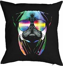 DJ Mops Hunde Print - Bezug für Kissen - Musiker Neon Pop Art Motiv - DJ Pug mit Sonnenbrille und Kopfhörer - buntes Hunde Portrait Musik - Motiv Kissenhülle Deko 40x40cm schwarz : )