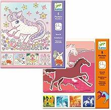 Djeco Kreativ Set Einhorn Pferde/Schablonen