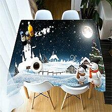 Djkaa 3D-Tischdecke Weihnachten Niedlichen