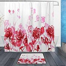 DJROWW Duschvorhang-Set mit tropischen Blättern,