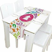 DJROWW Tischläufer im Vintage-Stil, tropisches