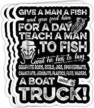 DKISEE Aufkleber für Herren, lustiger Fischer,