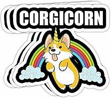 DKISEE Aufkleber mit süßem Corgicorn-Motiv,