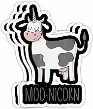 DKISEE Aufkleber Moonicorn Lustiges Kuh Einhorn