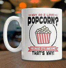 DKISEE I Love Popcorn Coffee Mug Cute Popcorn
