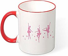 DKISEE Kaffeetasse mit Ballett-Motiv, Rot, 325 ml