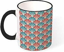 DKISEE Kaffeetasse mit Feder, nahtloses Muster,