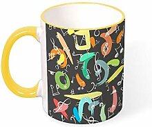 DKISEE Kaffeetasse mit Musiknoten und Henkel, 313