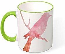 DKISEE Kaffeetasse mit pinkem Vogelmotiv,